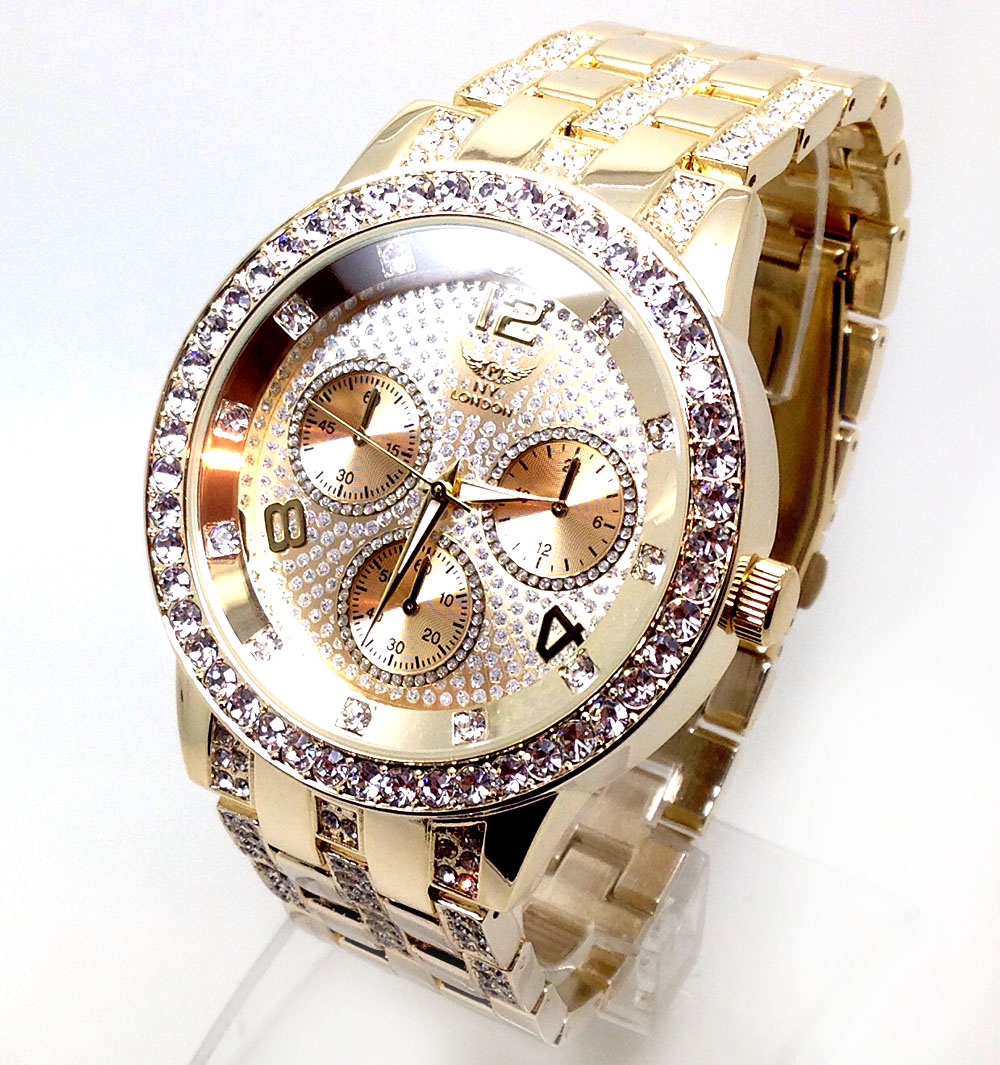 667f men 39 s new celebrity style wrist watch gold strap bling rhinestone big dial ebay for Celebrity wrist watches